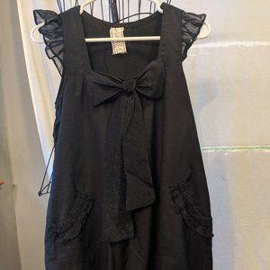 C. Luce Ruffle Sleeve Black Mini Dress